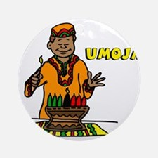 Umoja Man lighting the Kinara.png Ornament (Round)