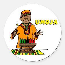 Umoja Man lighting the Kinara.png Round Car Magnet