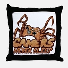 Gamers never sleep Throw Pillow