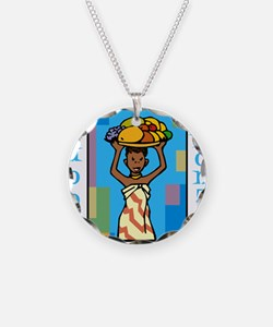 Lady Happy Kwanzaa with fruit Necklace