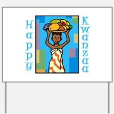 Lady Happy Kwanzaa with fruit Yard Sign
