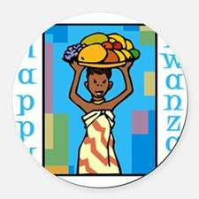 Lady Happy Kwanzaa with fruit Round Car Magnet