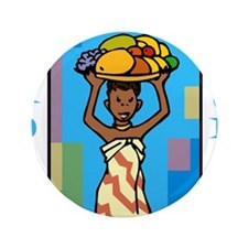 "Lady Happy Kwanzaa with fruit 3.5"" Button"
