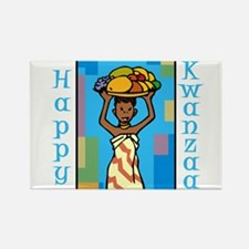 Lady Happy Kwanzaa with fruit Magnets