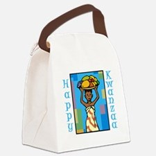 Lady Happy Kwanzaa with fruit Canvas Lunch Bag