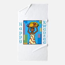 Lady Happy Kwanzaa with fruit Beach Towel