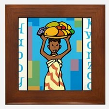 Lady Happy Kwanzaa with fruit Framed Tile