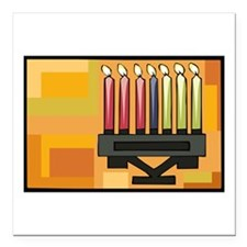 "Kwanzaa Kinara simple.png Square Car Magnet 3"" x 3"