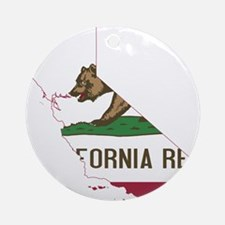 CALIFORNIA FLAG and STATE Ornament (Round)