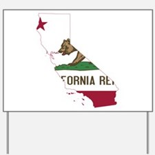 CALIFORNIA FLAG and STATE Yard Sign