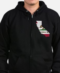 CALIFORNIA FLAG and STATE Zip Hoodie