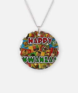 Happy Kwanzaa Collage.png Necklace