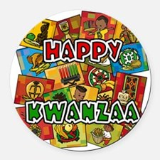 Happy Kwanzaa Collage.png Round Car Magnet