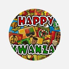 "Happy Kwanzaa Collage.png 3.5"" Button (100 pack)"