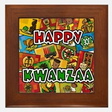 Happy Kwanzaa Collage.png Framed Tile