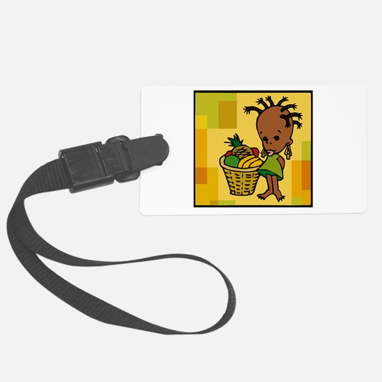 Baby Kwanzaa kid and fruit basket.png Luggage Tag