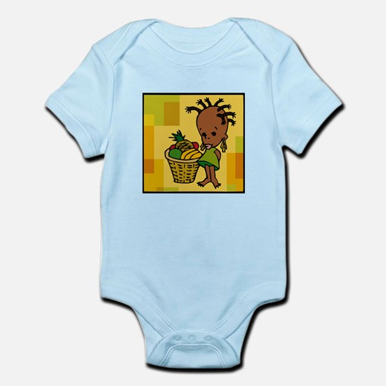 Baby Kwanzaa kid and fruit basket.png Body Suit