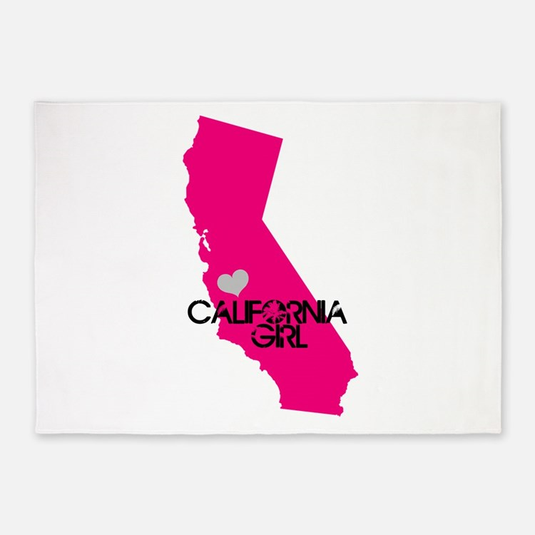 CALIFORNIA GIRL w HEART [4] 5'x7'Area Rug