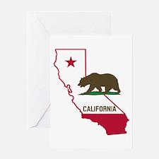 CALI STATE w BEAR Greeting Cards