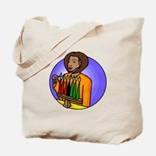 Lady Lighting Kwanzaa Candles.png Tote Bag
