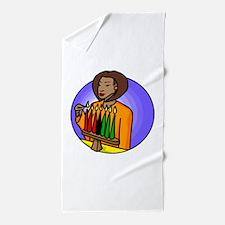 Lady Lighting Kwanzaa Candles.png Beach Towel