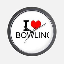 I Love Bowling Wall Clock