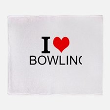 I Love Bowling Throw Blanket