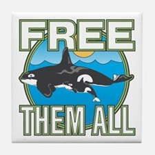 Free Them All(Whales) Tile Coaster