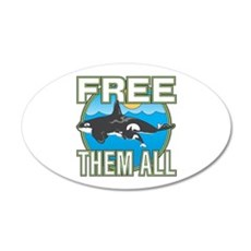 Free Them All(Whales) 20x12 Oval Wall Decal