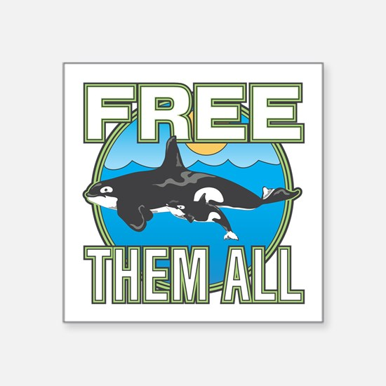 """Free Them All(Whales) Square Sticker 3"""" x 3"""""""