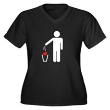 No more Love Women's Plus Size V-Neck Dark T-Shirt