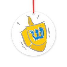 yellow dreidel.png Ornament (Round)