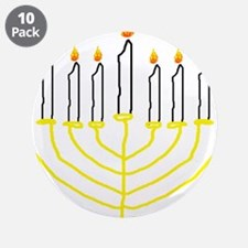 """one of a kind hand drawn menorah.png 3.5"""" Button ("""