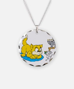 mouse teaching cat about hannukkah.png Necklace