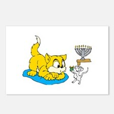mouse teaching cat about hannukkah.png Postcards (