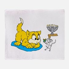 mouse teaching cat about hannukkah.png Throw Blank