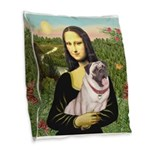 Mona's Fawn Pug (#2) Burlap Throw Pillow