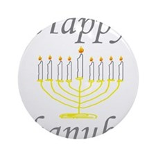 happy Chanukah with Menorah.png Ornament (Round)