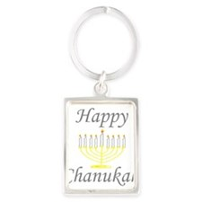 happy Chanukah with Menorah.png Keychains