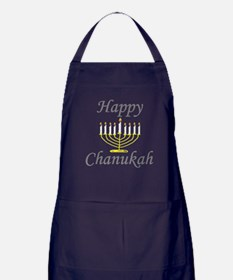 happy Chanukah with Menorah.png Apron (dark)