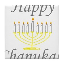 happy Chanukah with Menorah.png Tile Coaster