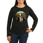 Mona's Fawn Pug ( Women's Long Sleeve Dark T-Shirt