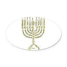 Menorah for Hanukkah.PNG Oval Car Magnet