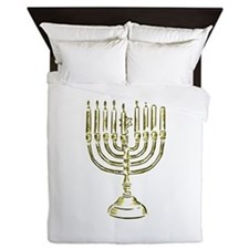 Menorah for Hanukkah.PNG Queen Duvet