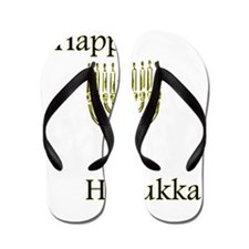 Happy Hanukka with Menorah.png Flip Flops