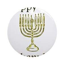 Happy Chanuka with Menorah.png Ornament (Round)