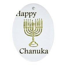 Happy Chanuka with Menorah.png Ornament (Oval)