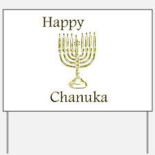 Happy Chanuka with Menorah.png Yard Sign