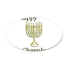 Happy Chanuka with Menorah.png Oval Car Magnet