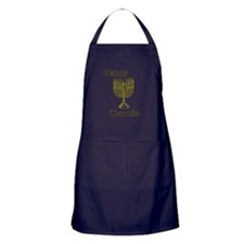Happy Chanuka with Menorah.png Apron (dark)